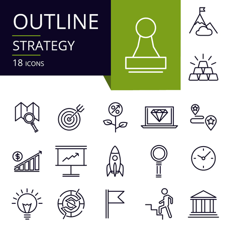 Set of outline icons of Strategy.Modern icons for website, mobile, app design and print.