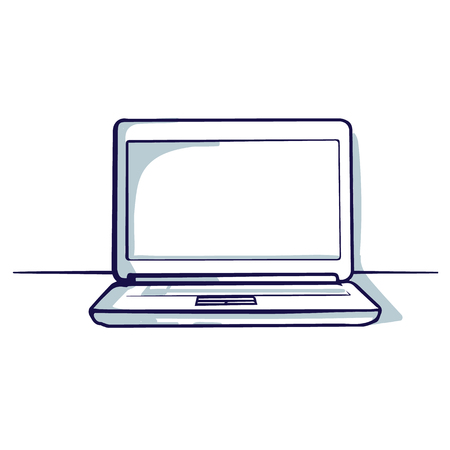 Laptop isolated on the white background. Hand drawn doodle cartoon vector illustration.
