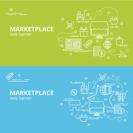 Flat colorful design concept for Marketplace. Infographic idea of making creative products.Template for website banner, flyer and poster. Illustration