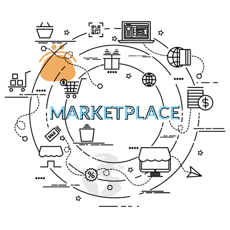 Flat colorful design concept for Marketplace. Infographic idea of making creative products.Template for website banner, flyer and poster. Vettoriali