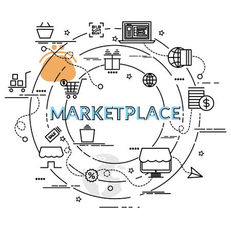 Flaches buntes Konzept des Entwurfes für Marktplatz. Infografik Idee, kreative Produkte zu machen. Vorlage für Website-Banner, Flyer und Poster. Vektorgrafik