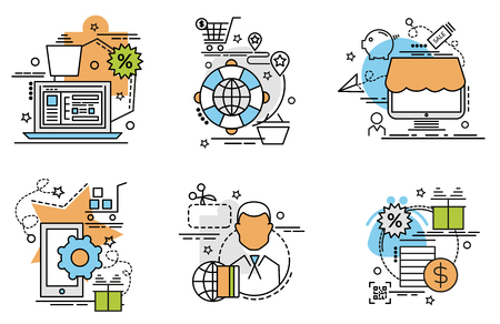 Set of outline icons of Marketplace.Colorful icons for website, mobile, app design and print.