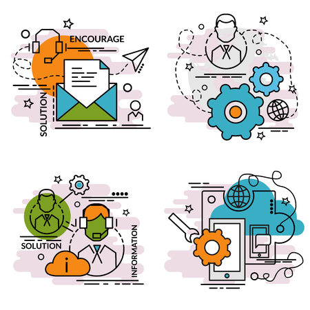 Set of outline icons of Support. Colorful icons for website, mobile, app design and print.