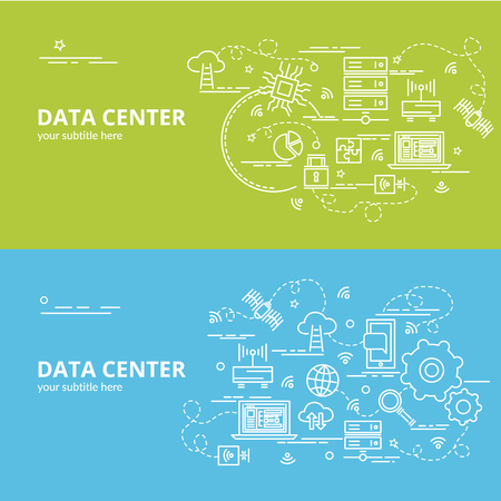 Flat colorful design concept for Data Center. Info-graphic idea of making creative products. Template for website banner, flyer and poster. Illustration