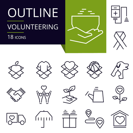 Set of outline icons of Volunteering. Vectores