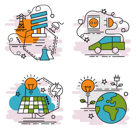 Set of outline icons of Renewable Energy. Colorful icons for website, mobile, app design and print. Vector illustration. Vettoriali