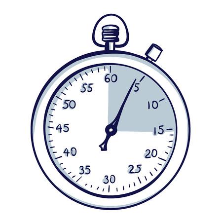 Cronómetro / cronómetro. Ilustración de vector de dibujos animados de doodle dibujado a mano.