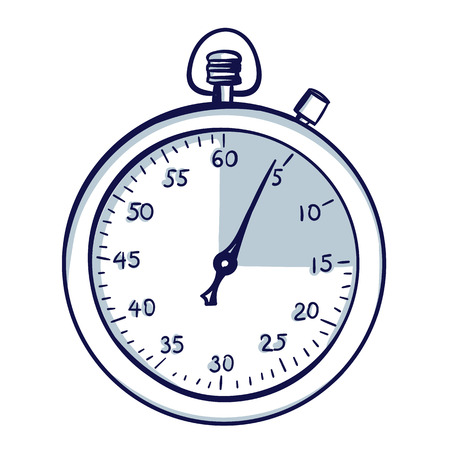 Stopwatch / stop watch timer. Hand drawn doodle cartoon vector illustration. Stock Illustratie