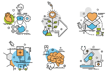 Set of outline icons of Medicine.Colorful icons for website, mobile, app design and print. Stock Illustratie