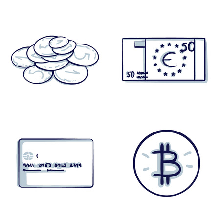 Set of Financial and Money icon. Euro Banknotes, coins, credit cards, bitcoin. Isolated object. Hand drawn doodle cartoon vector illustration.