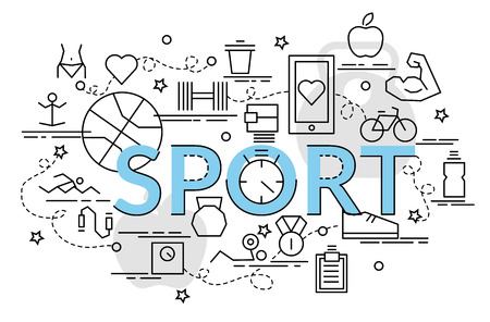 Flat colorful design concept for Sport. Infographic idea of making creative products.Template for website banner, flyer and poster.