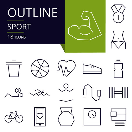 Set of outline icons of Sport. Modern icons for website, mobile, app design and print.