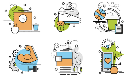 Set of outline icons of Sport. Colorful icons for website, mobile, app design and print. Stock Illustratie