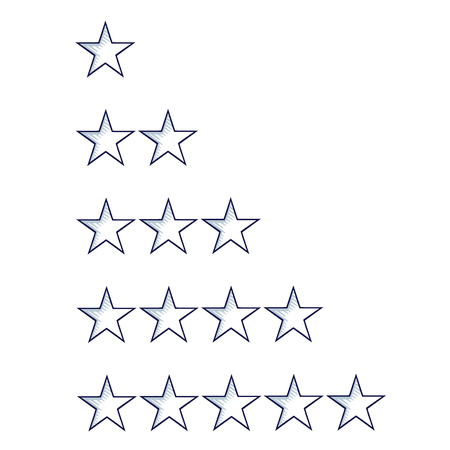 Set of five sketch stars rating template, isolated on white. Hand drawn doodle cartoon vector illustration.