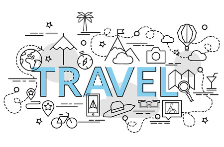 Flat colorful design concept for Travel. Infographic idea of making creative products. Template for website banner, flyer and poster.