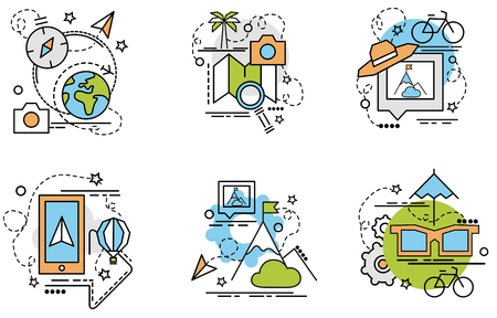 Set of outline icons of Travel. Colorful icons for website, mobile, app design and print. Stock Illustratie