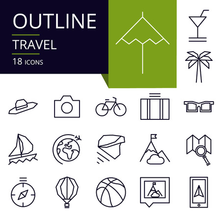 Set of outline icons of Travel. Modern icons for website, mobile, app design and print.