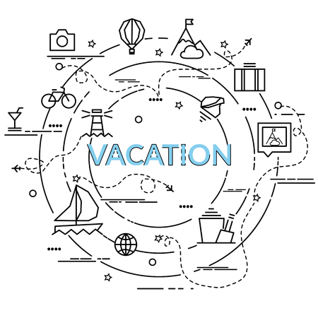 Flat colorful design concept for Vacation. Infographic idea of making creative products. Template for website banner, flyer and poster.