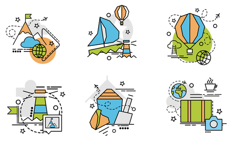 Set of outline icons of Vacation. Colorful icons for website, mobile, app design and print. Stock Illustratie