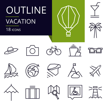 Set of outline icons of Vacation. Modern icons for website, mobile, app design and print.