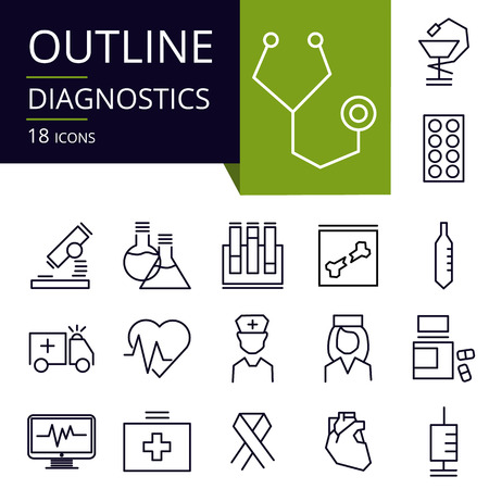 Set of outline icons of Diagnostic. Modern icons for website, mobile, app design and print.