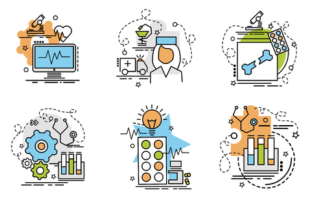 Set of outline icons of Diagnostic. Colorful icons for website, mobile, app design and print.