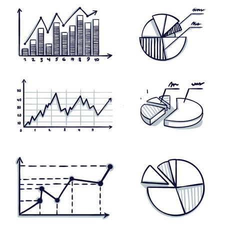 Trendy handgetekende vector staafdiagram coördinaat ontwerp. Doodle cartoon vectorillustratie. Stockfoto - 104012864