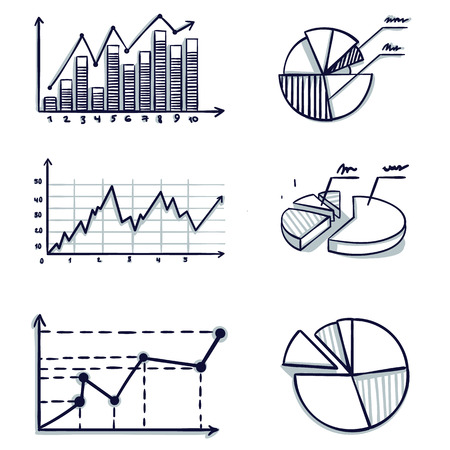 Trendy hand-drawn vector bar graph coordinate design. Doodle cartoon vector illustration.