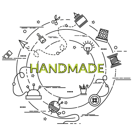 Flat colorful design concept for Handmade. Infographic idea of making creative products. Template for website banner, flyer and poster.