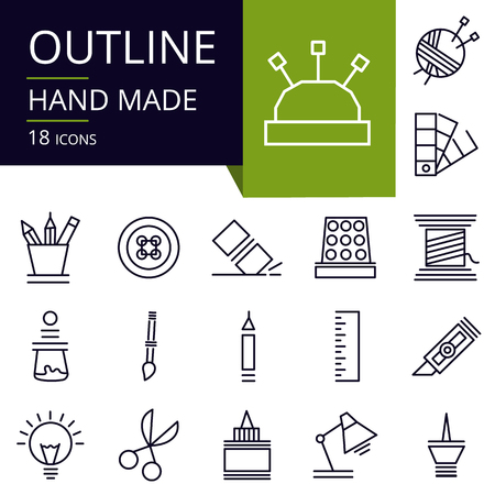 Set of outline icons of Handmade. Modern icons for website, mobile, app design and print.