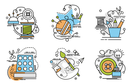 Set of outline icons of Handmade. Colorful icons for website, mobile, app design and print.