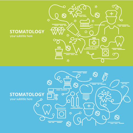Flat colorful design concept for Stomatology. Infographic idea of making creative products. Template for website banner, flyer and poster.