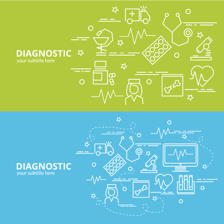 Flat colorful design concept for Diagnostics. Infographic idea of making creative products.Template for website banner, flyer and poster. Stock Illustratie