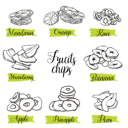 Hand drawn sketch style fruits and berries slices, chips. Mandarin, orange, kiwi, strawberry, banana, apple, pineapple and pear. Organic snack, vector doodle illustrations collection isolated on white background.