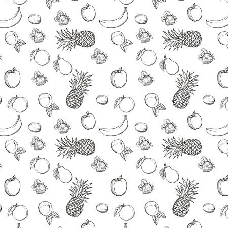 Vector fruits pattern. Fruits seamless background. Mandarin, orange, kiwi, pecan, strawberry, banana, apple, pineapple and pear. Modern illustrations isolated on white background.