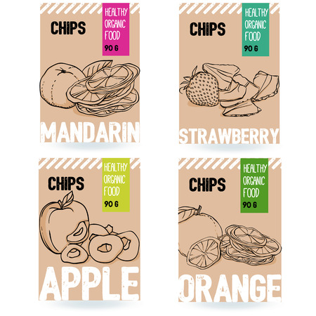 Beautiful vector hand drawn organic fruit card set. Mandarin, strawberry, apple, orange. Template elements collection for packaging design. Modern illustrations isolated on white background.