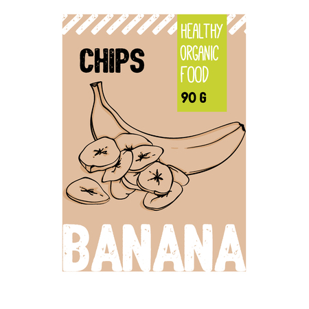 Beautiful vector hand drawn Banana organic fruit chips. Template elements collection for packaging design. Modern illustrations isolated on white background. Vettoriali