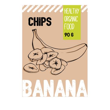 Croustilles de fruits biologiques à la banane dessinés à la main de beaux vecteurs. Collection d'éléments de modèle pour la conception d'emballages. Illustrations modernes isolées sur fond blanc.