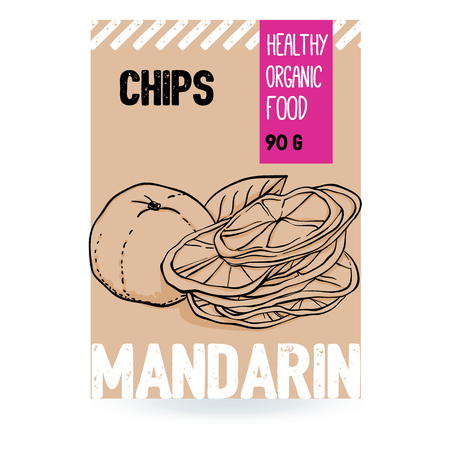 Beautiful vector hand drawn Mandarin organic fruit chips. Template elements collection for packaging design. Modern illustrations isolated on white background.