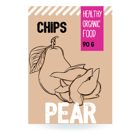 Beautiful vector hand drawn Pear organic fruit chips. Template elements collection for packaging design. Modern illustrations isolated on white background.