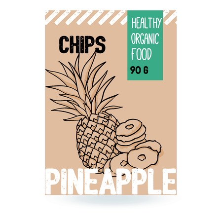 Beautiful vector hand drawn Pineapple organic fruit chips. Template elements collection for packaging design. Modern illustrations isolated on white background.