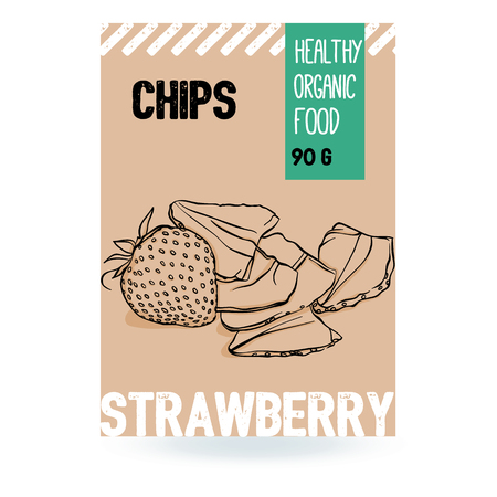Beautiful vector hand drawn Strawberry organic fruit chips. Template elements collection for packaging design. Modern illustrations isolated on white background. Stock Illustratie