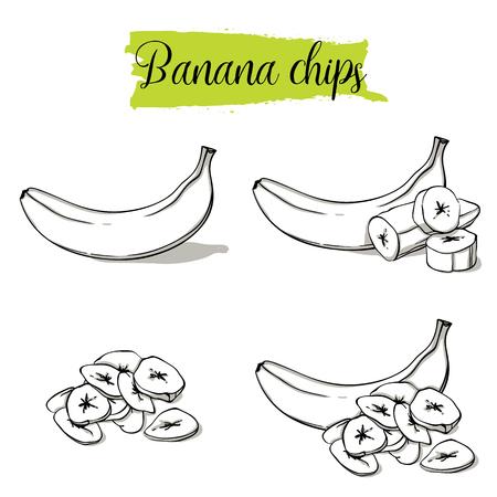 Ensemble de banane de style croquis dessinés à la main. Fruits isolés, groupés, chips de banane, tranches. Aliments biologiques, collection d'illustrations vectorielles doodle isolée sur fond blanc. Vecteurs