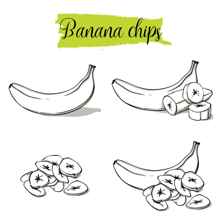 Hand drawn sketch style Banana set. Single, group fruits, banana chips, slices. Organic food, vector doodle illustrations collection isolated on white background. Фото со стока - 114864144