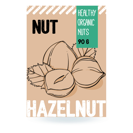 Beautiful vector hand drawn hazelnut organic nut. Template elements for packaging design. Modern illustrations isolated on white background. Stock Illustratie
