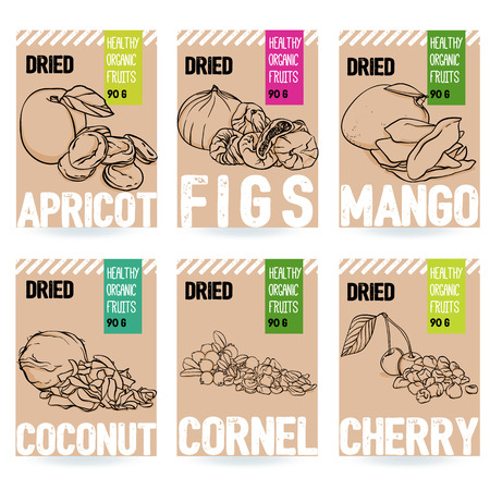 Beautiful vector hand drawn organic fruit card set. Apricot, fig, mango, coconut, cherry, dogwood. Template elements collection for packaging design. Modern illustrations isolated on white background.