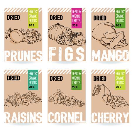 Ensemble de cartes de fruits bio dessinés à la main de beaux vecteurs. Prune, figue, mangue, raisin, cerise, cornouiller. Collection d'éléments de modèle pour la conception d'emballages. Illustrations modernes isolées sur fond blanc.