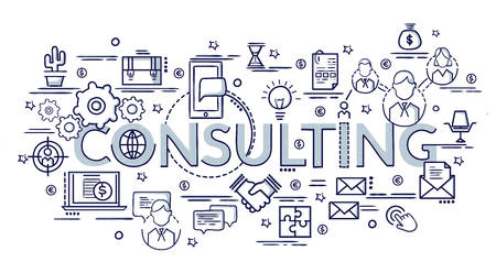 Design concept for Consulting. Infographic idea of making creative products.Template for website banner, flyer and poster. Hand drawn doodle cartoon vector illustration.