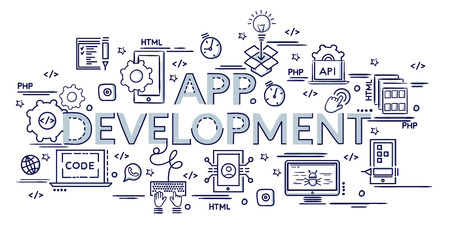Design concept for APP Development. Infographic idea of making creative products. Template for website banner, flyer and poster. Hand drawn doodle cartoon vector illustration. Stock Illustratie