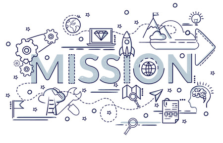 Design concept of Mission. Infographic idea of making creative products. Template for website banner, flyer and poster.  Hand drawn doodle cartoon illustration. Stock Illustratie